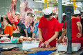 Dorogomilovsky agricultural market moscow may unidentified butcher working in the on may in moscow it is the oldest and most Stock Image