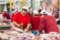Dorogomilovsky agricultural market moscow may unidentified butchers working in the on may in moscow it is the oldest and most Royalty Free Stock Photo