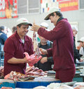 Dorogomilovsky agricultural market moscow may unidentified butchers working in the on may in moscow it is the oldest and most Royalty Free Stock Image