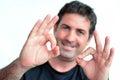 Dorośleć mężczyzna pokazuje kciuka perfect znaka ok Obraz Stock