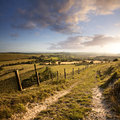 Dorset landscape sunset over eggardon hill in Stock Image
