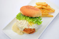 Dory burger with potato chips on white plate Stock Image