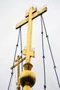 Dos cruces ortodoxas de oro Foto de archivo