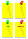 DOs and DON'Ts green red pins Royalty Free Stock Photo