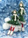 Dos pequeños árboles de navidad 2 Foto de archivo libre de regalías