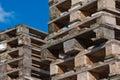 Dos pilas de paletas euro Imagen de archivo