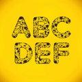 Dot alphabet van a aan f Royalty-vrije Stock Afbeeldingen