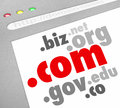 Dot com domain name suffixes website registration a screen showing address such as edu org info net biz and co to illustrate Royalty Free Stock Image