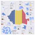 Dot and flag map of romania infographic design template Royalty Free Stock Photo