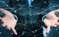 Dot flying network held by businessman 3D rendering