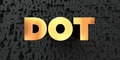 Dot - Gold text on black background - 3D rendered royalty free stock picture
