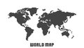 Dotted blank black world map isolated on white background.