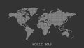 Dotted blank white world map on black background