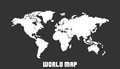 Dotted blank white world map isolated on black background.