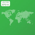 Dotted blank world map icon. Business concept world map pictogram. Vector illustration on green background.