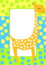 Dotted giraffe frame invitation card with and huge dots space to put text inside Royalty Free Stock Photos