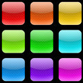 Dotted rounded square buttons varicolored on gray background Royalty Free Stock Photos