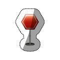 Dotted sticker hexagon road sign red icon Royalty Free Stock Photo