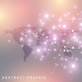 Dotted World Map with global technology networking concept. Digital data visualization. Scientific cybernetic particle