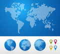 Dotted World maps and globes Stock Images