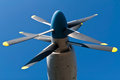 Double aircraft propeller on blue sky Royalty Free Stock Images