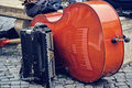 Double bass and accordion in rome piazza navona Royalty Free Stock Image