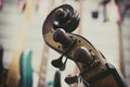 Double bass headstock close up and tuning keys vintage color effect and out of focus background Royalty Free Stock Images