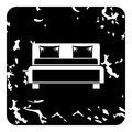 Double bed icon, grunge style
