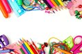 Double border of school supplies over white Royalty Free Stock Photo