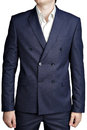Double breasted mens suit jacket with dark blue small checkered blazer a navy pattern isolated on white background Stock Image