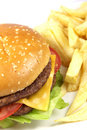 Double cheese burger with chips Royalty Free Stock Photo
