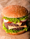 Double cheeseburger big and tasty Royalty Free Stock Images