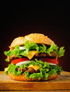 Double cheeseburger fast food with big tasty traditional or hamburger Stock Image