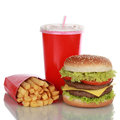 Double cheeseburger meal with french fries and cola isolated a drink on white Stock Photography