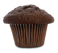 Double chocolate muffin isolated on white with clipping path very shallow depth of field Royalty Free Stock Photos