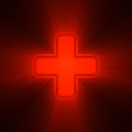 Double crosses in red light flare cross with powerful halo shining on dark background good for gaming world medical neon sign Stock Image