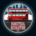 stock image of  Double deck red bus of an industrial landscape.
