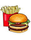 Double decked burger and fries Royalty Free Stock Photo