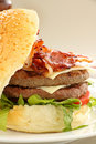 Double Decker Burger Stock Photo