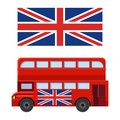 Double decker bus with flag of Great Britain vector illustration