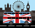 Double decker bus in great britain flag color red and london sights background Stock Photo