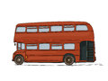 Double decker bus london cartoon drawing on white background Royalty Free Stock Photography
