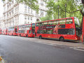 Double decker bus london england uk october row of red buses waiting to depart from on october in london england uk Royalty Free Stock Photography