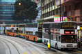 Double decker buses in hong kong downtown central china Stock Images