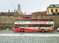 Double decker tour bus in dresden germany september open top stadtrundfahrt city moving on terrassenufer street tourists staying Royalty Free Stock Image