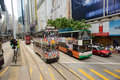 Double decker tram hong kong may on may hong kong is the only system in the world run with deckers major tourist Stock Image