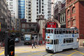 Double decker tramway hong kong downtown in central china Royalty Free Stock Photography