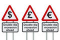 Double dip recession road sign Stock Photography