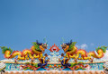 Double dragon on chinese temple roof pakchong thailand Royalty Free Stock Photos