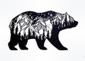Double exposure bear with mountains landscape.